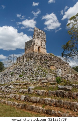 El Mirador pyramid in the ruins of the ancient Mayan city of Labna, Mexico - stock photo