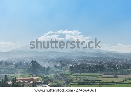 El Misti Volcano and the City of Arequipa, Peru - stock photo