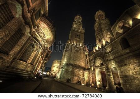 El Moez street  at night - stock photo