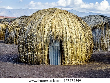 EL Molo huts, Lake Turkana, Kenya - stock photo