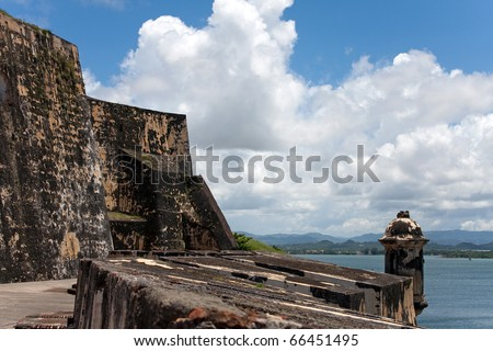 El Morro fort located in Old San Juan Puerto Rico is a popular tourist destination. - stock photo