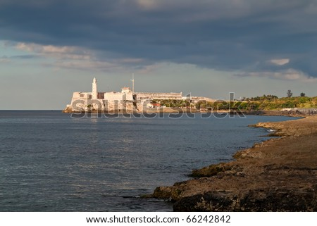 El morro fortress in the bay of Havana with reefs in the foreground - stock photo