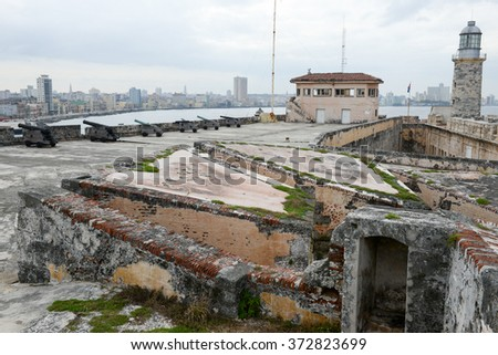 El Morro fortress with the city of Havana in the background - stock photo