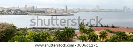 El Morro fortress with the city of Havana in the background, Cuba - stock photo