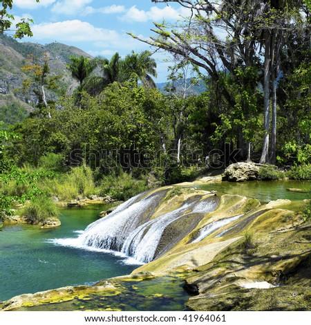 El Nicho waterfall, Cienfuegos Province, Cuba - stock photo