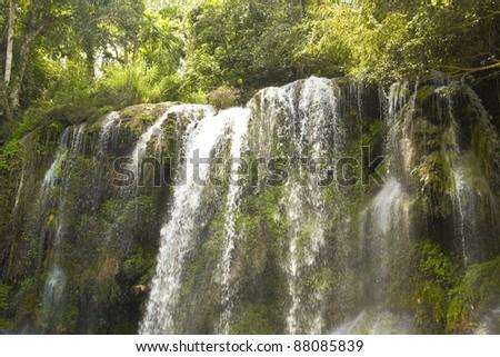 El Nicho waterfall, in Scambray mountains. Cienfuegos province, Cuba. - stock photo