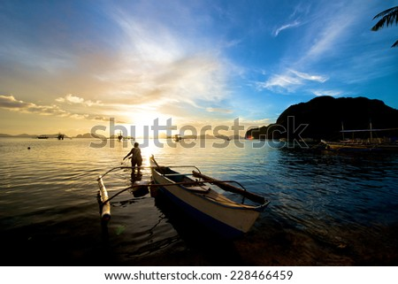 El Nido sunset in the Palawan Island in the Philippines. - stock photo