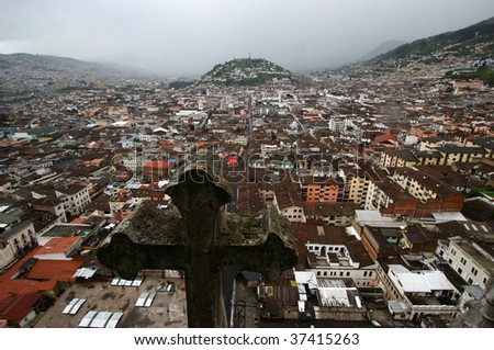 El Panecillo from the Basilica in Quito - stock photo