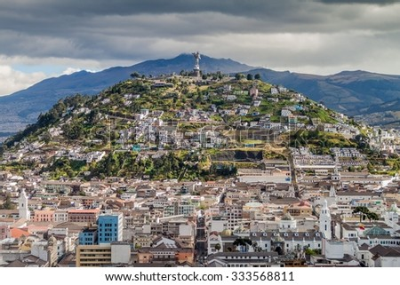 El Panecillo hill in Quito, Ecuador - stock photo