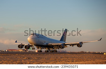 EL PASO DECEMBER 22.  Duke's football team arriving at El Paso International Airport on a Delta 747-400 charter to play at the 2014 Sun Bowl on December 22, 2014 at El Paso, Texas.  - stock photo