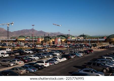 EL PASO OCTOBER 24.  American Airlines departs the El Paso International Airport on the way to Dallas on October 24, 2014 at El Paso, Texas.  - stock photo