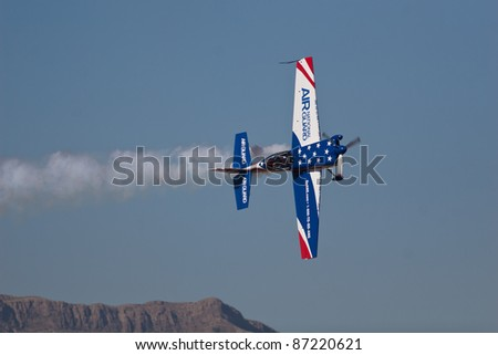 EL PASO – OCTOBER 21: John Klatt puts on an aerial display at Fort Bliss, Biggs Airfield, during the practice session at the 30th Anniversary Amigo Airsho on October 21, 2011 in El Paso, Texas.