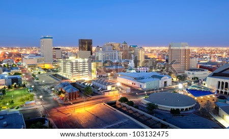 El Paso Texas Skyline at Night. Downtown El Paso Texas skyline seen just after sunset. 16 x 9 aspect ratio. Space for copy. - stock photo