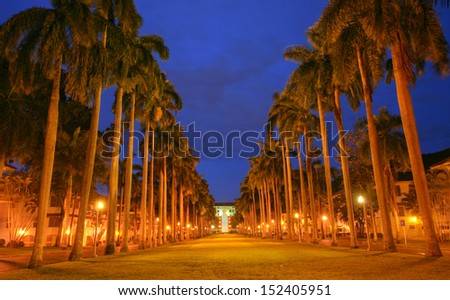 El Prado Avenue: monumental avenue, surrounding area of the Panama Canal Administration Building - stock photo