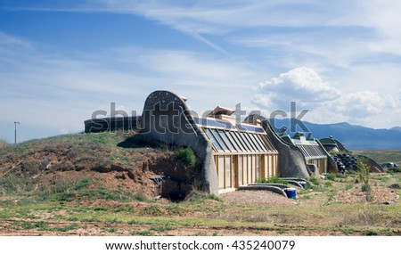 El PRADO, NM, USA-  MAY 30, 2016: Earthship Biotecture - Radically Sustainable Buildings