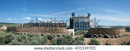 El PRADO, NM, USA-  MAY 30, 2016: Earthships are groundbreaking, solar powered homes made of natural and recycled materials.