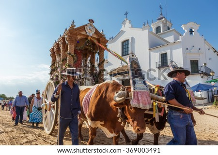 El ROCIO, ANDALUCIA, SPAIN - MAY 22: Romeria with the bulls, after visiting the Sanctuary goes to village.  2015 most famous pilgrimage of Spain. This pilgrimage passes from the 15th century. - stock photo