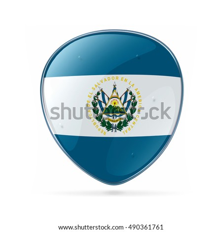 El Salvador Flag icon, isolated on white background.