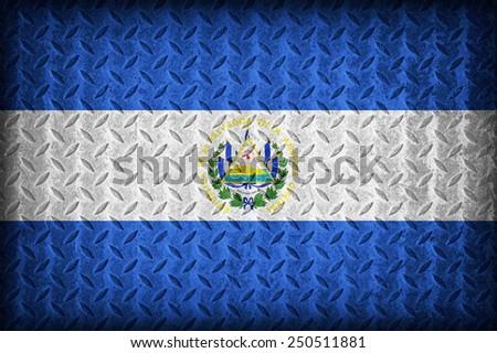 El Salvador flag pattern on the diamond metal plate texture ,vintage style - stock photo