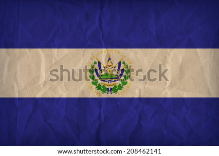 El Salvador flag pattern on the paper texture ,retro vintage style - stock photo