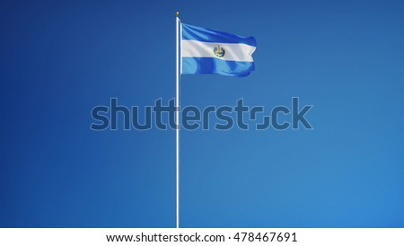 El Salvador flag waving against clean blue sky, long shot, isolated with clipping path mask alpha channel transparency