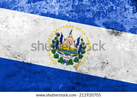 El Salvador Flag with a vintage and old look - stock photo