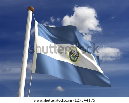 El Salvador flag (with clipping path) - stock photo