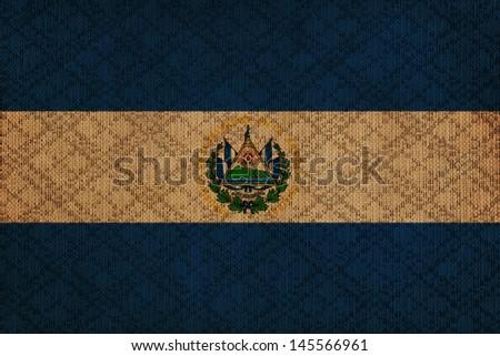 El Salvador grunge canvas flag - stock photo