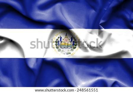 El Salvador waving flag - stock photo