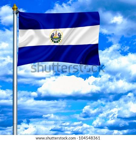 El Salvador waving flag against blue sky - stock photo