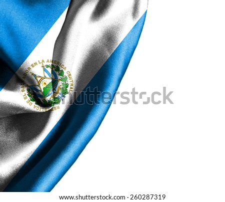 El Salvador waving silky flag isolated on white background - stock photo