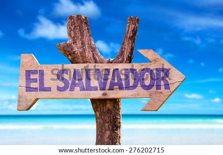 El Salvador wooden sign with beach background - stock photo