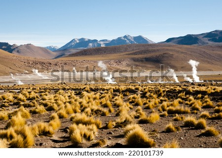 El Tatio Geyser Field - Chile - stock photo