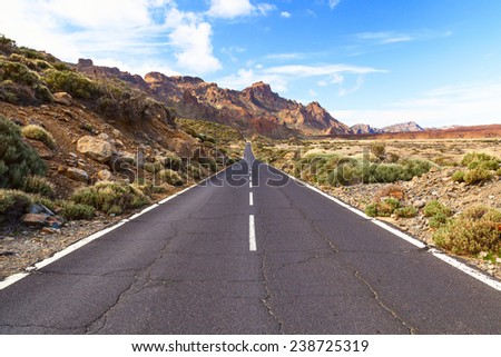 el teide mountain road on the island of tenerife