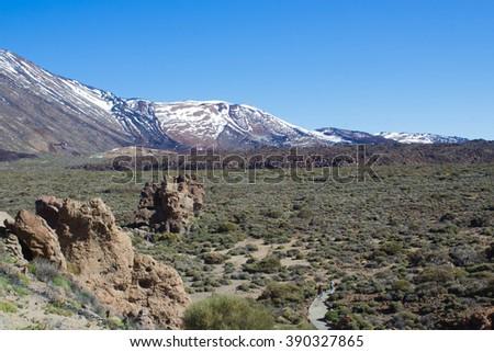 El Teide National Park. Snow peak. Tenerife. Canary islands. Spanish - stock photo