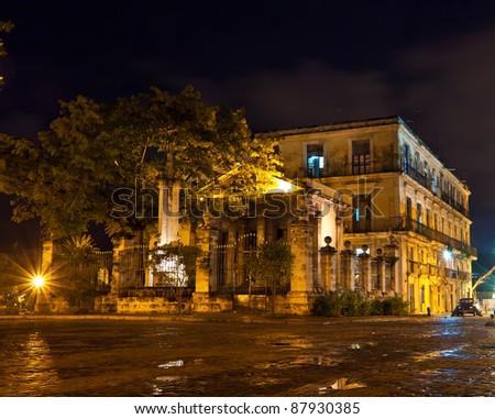 El Templete, the founding site of Havana. illuminated at night - stock photo