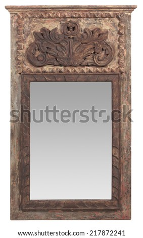Elaborate colonial vintage wood framed mirror - stock photo