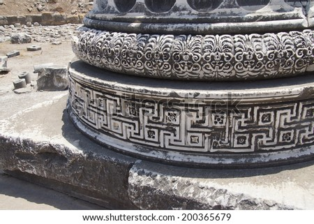Elaborately decorated bases of the massive columns  of the Apollo temple  at Didyma,  Turkey  - stock photo