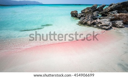 Elafonisi Lagoon, Crete Island, Greece. Elafonissi beach is one of the best beaches of Europe. There are pink  sand. - stock photo