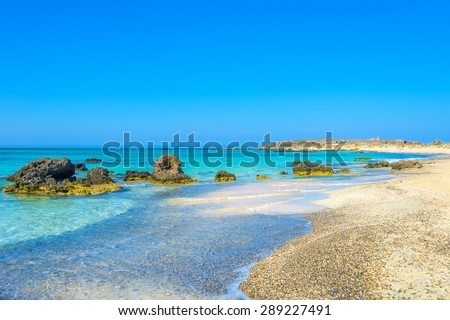 Elafonisi, one of the most famous beaches in the world, Crete, Greece - stock photo