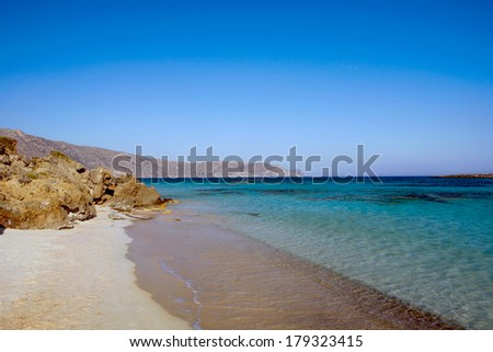 Elafonisos beach on the south-west coast of Crete island in Greece, rated one of the most fabulous beaches in Europe. - stock photo