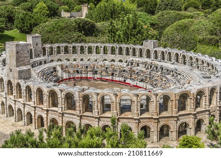 ELANCOURT, FRANCE - JULY 22, 2012: France Miniature - 116 of most spectacular monuments of French national heritage, all modeled on a 1:30 scale.