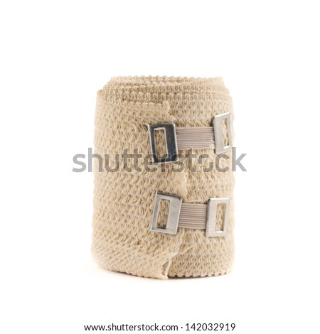 Elastic ACE compression bandage warp isolated over white background - stock photo
