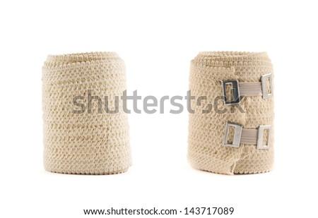 Elastic ACE compression bandage warp isolated over white background, set of two foreshortenings - stock photo