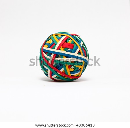 Elastic band, rubber band ball - stock photo