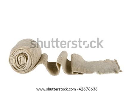 elastic bandage against the white background - stock photo
