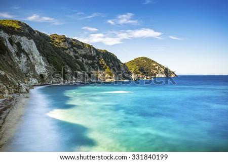 Elba island, Portoferraio Sansone white beach coast. Tuscany, Italy, Europe. Long Exposure. - stock photo