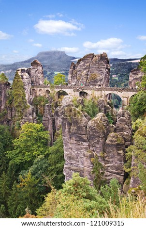 elbe sandstone mountains in saxony, germany in summer - stock photo