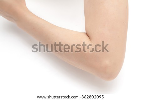 Elbow and arm white background - stock photo
