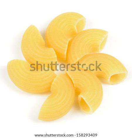 Elbow Macaroni (Gomiti Pasta) Isolated on White Background - stock photo